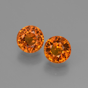 Orange Sapphire Gem - 0.6ct Round Facet (ID: 446234)