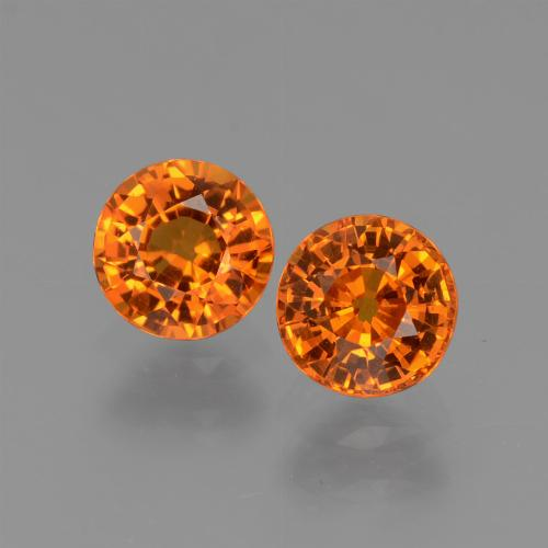 Orange Sapphire Gem - 0.6ct Round Facet (ID: 446264)