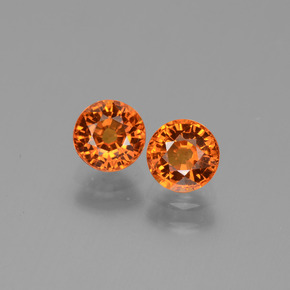 Orange Sapphire Gem - 0.8ct Round Facet (ID: 446290)