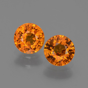 Yellow Orange Sapphire Gem - 0.6ct Round Facet (ID: 446331)