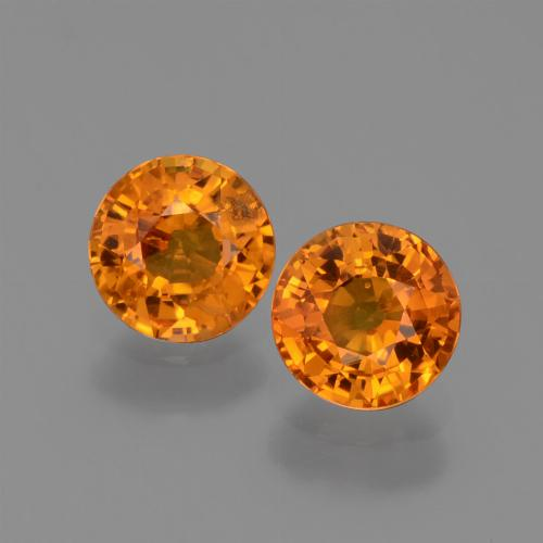 Yellow Orange Sapphire Gem - 0.7ct Round Facet (ID: 446335)