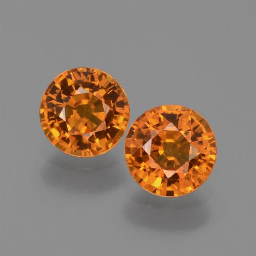 Medium-Dark Orange Sapphire Gem - 0.7ct Round Facet (ID: 446338)