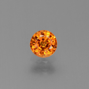 Yellow Orange Sapphire Gem - 0.6ct Round Facet (ID: 446365)