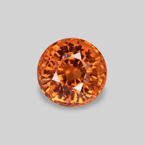 Orange Sapphire Gem - 0.8ct Round Facet (ID: 446399)