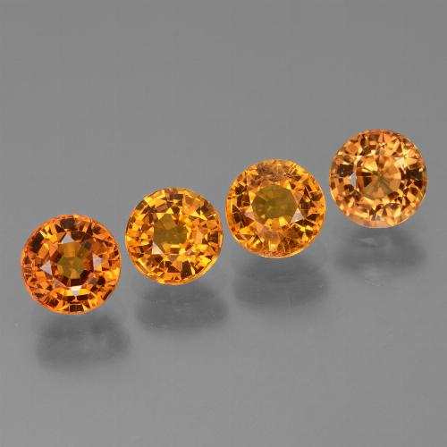 Yellow Orange Sapphire Gem - 0.7ct Round Facet (ID: 446402)