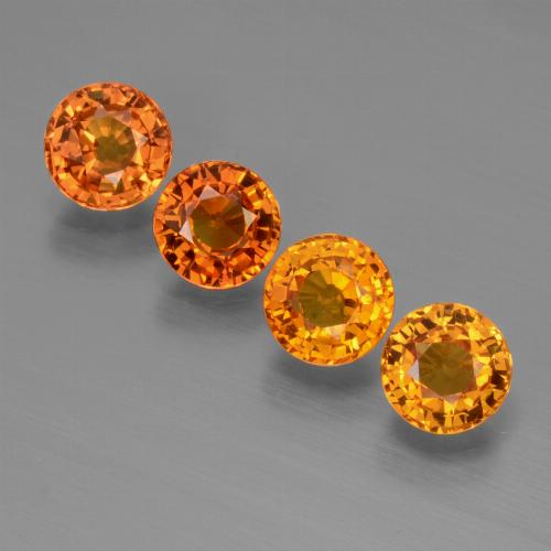 Yellow Orange Sapphire Gem - 0.7ct Round Facet (ID: 446428)