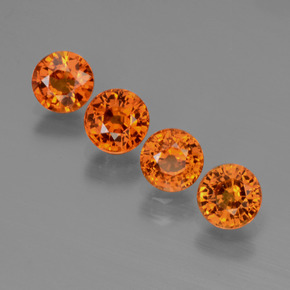 Orange Sapphire Gem - 0.6ct Round Facet (ID: 446430)