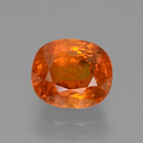 3.9ct Cushion-Cut Intense Orange Sapphire Gem (ID: 447628)
