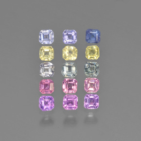 Multicolor Sapphire Gem - 0.1ct Octagon Step Cut (ID: 450173)