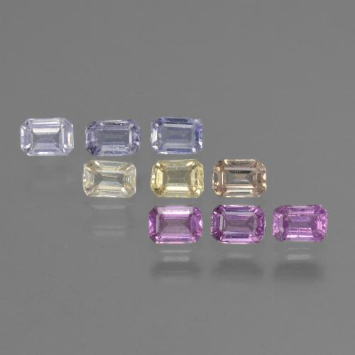 Multicolor Sapphire Gem - 0.2ct Octagon Step Cut (ID: 451335)