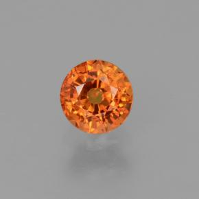 Yellow Orange Sapphire Gem - 0.7ct Round Facet (ID: 453081)