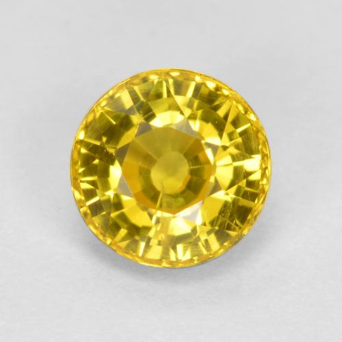 Golden Yellow Sapphire Gem - 0.8ct Round Facet (ID: 453144)