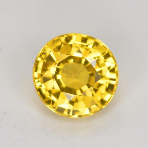 Yellowish Gold Sapphire Gem - 0.7ct Round Facet (ID: 453241)