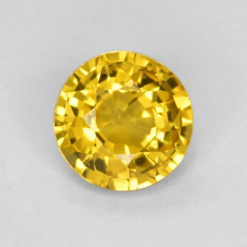 Golden Yellow Sapphire Gem - 0.6ct Round Facet (ID: 453245)