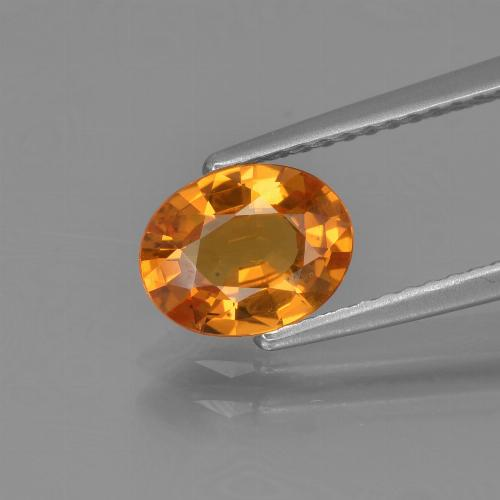Deep Orange Sapphire Gem - 1.3ct Oval Facet (ID: 453290)