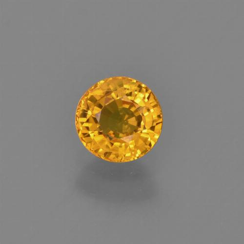 Deep Golden Orange Zaffiro Gem - 0.8ct Sfaccettatura rotonda (ID: 453378)