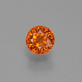 Yellow Orange Sapphire Gem - 0.6ct Round Facet (ID: 453425)