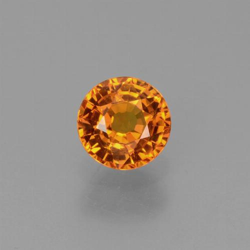 Yellow Orange Sapphire Gem - 0.7ct Round Facet (ID: 453426)