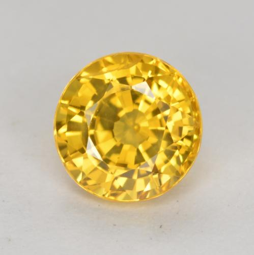 Yellow Golden Sapphire Gem - 0.7ct Round Facet (ID: 453443)