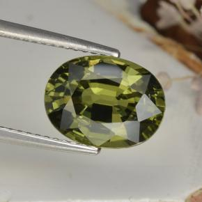 Warm Green Zaffiro Gem - 4.6ct Ovale sfaccettato (ID: 458364)