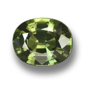 Green Sapphire Gem - 4.1ct Oval Facet (ID: 458366)