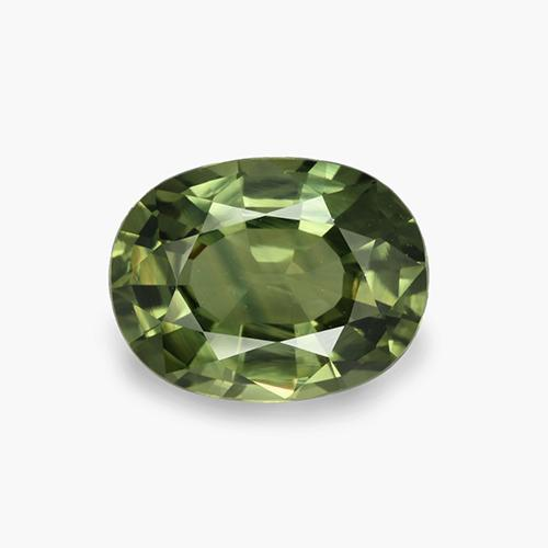 Medium-Dark Green Sapphire Gem - 4.1ct Oval Facet (ID: 458369)