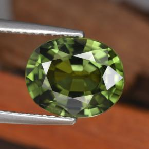 Green Sapphire Gem - 4.1ct Oval Facet (ID: 458371)