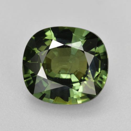 Dark Green Sapphire Gem - 4.1ct Cushion-Cut (ID: 458372)