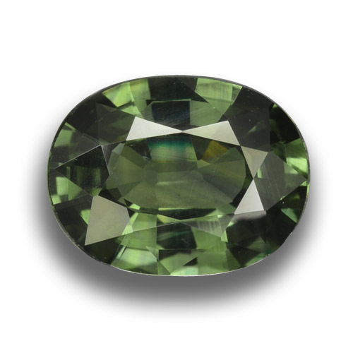 Green Sapphire Gem - 3.2ct Oval Facet (ID: 458451)