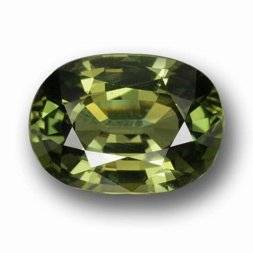 Green Sapphire Gem - 3.3ct Oval Facet (ID: 458452)