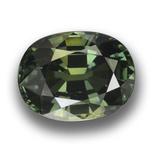 Green Sapphire Gem - 3.3ct Oval Facet (ID: 458454)