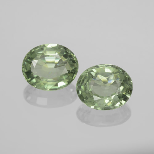 Green Sapphire Gem - 0.7ct Oval Facet (ID: 459811)