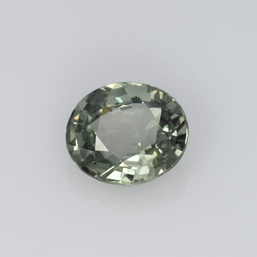 Greenish Gray Sapphire Gem - 0.8ct Oval Facet (ID: 459843)