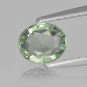 Green Sapphire Gem - 0.9ct Oval Facet (ID: 459844)
