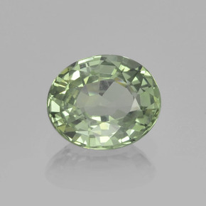Light Sage Green Zaffiro Gem - 0.8ct Ovale sfaccettato (ID: 459846)
