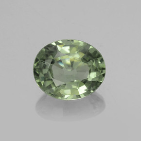 Earthy Green Sapphire Gem - 0.7ct Oval Facet (ID: 459895)