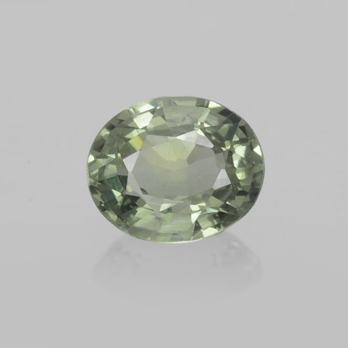 Forest Green Sapphire Gem - 0.8ct Oval Facet (ID: 459899)