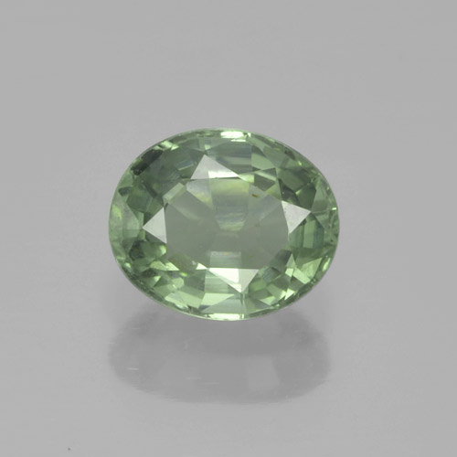 Light Forest Green Zaffiro Gem - 0.9ct Ovale sfaccettato (ID: 459974)
