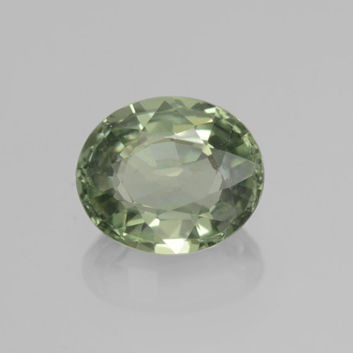 Green Sapphire Gem - 0.8ct Oval Facet (ID: 460012)