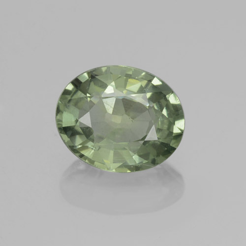Green Sapphire Gem - 0.8ct Oval Facet (ID: 460013)