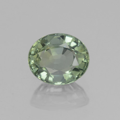 Medium-Light Green Zaffiro Gem - 0.9ct Ovale sfaccettato (ID: 460017)