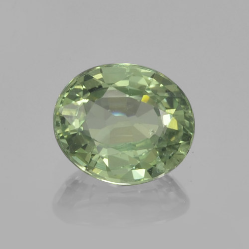 Green Sapphire Gem - 0.8ct Oval Facet (ID: 460047)