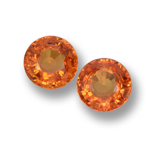 Yellow Orange Sapphire Gem - 0.6ct Round Facet (ID: 460604)