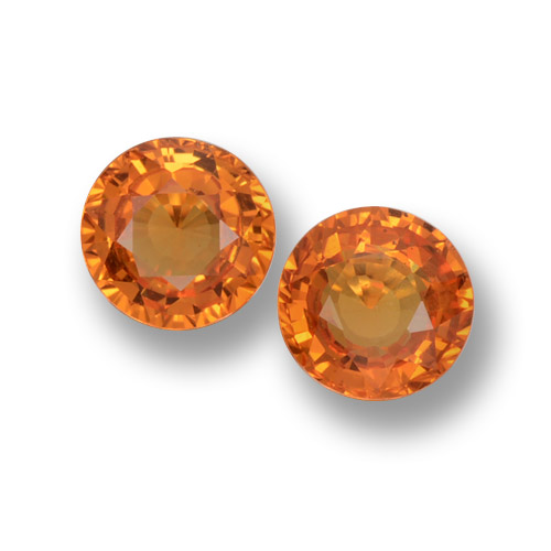 Medium Orange Zafiro Gema - 0.6ct Faceta Redonda (ID: 460605)