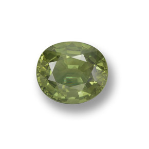 Green Sapphire Gem - 1.1ct Oval Facet (ID: 460636)