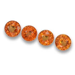 Orange Sapphire Gem - 0.6ct Round Facet (ID: 460673)