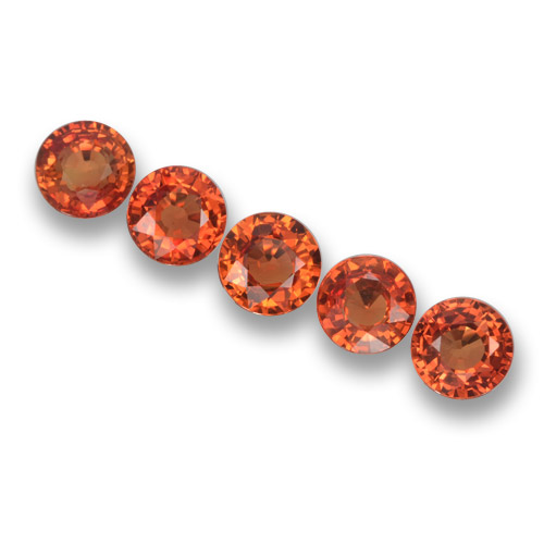 Orange Sapphire Gem - 0.5ct Round Facet (ID: 460796)