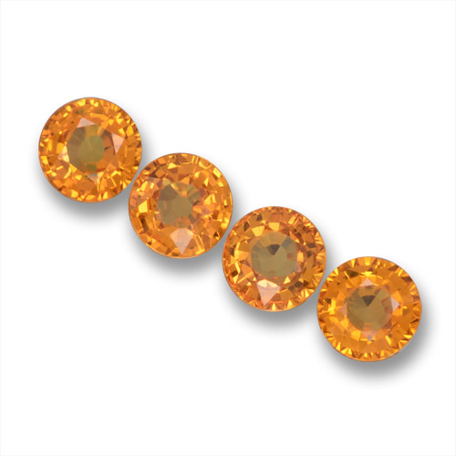 Yellow Orange Sapphire Gem - 0.6ct Round Facet (ID: 460845)