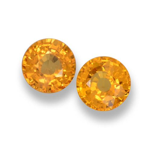 Yellow Orange Sapphire Gem - 0.6ct Round Facet (ID: 461044)
