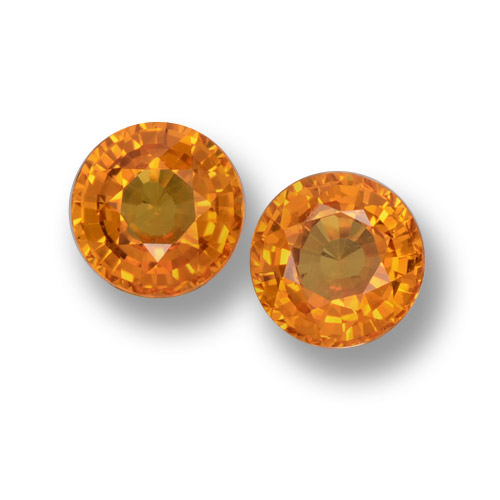 Orange Sapphire Gem - 0.6ct Round Facet (ID: 461187)